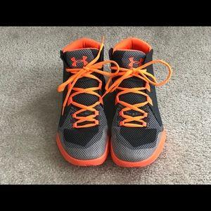Boys Under Armour Grey Orange Sneakers  EUC